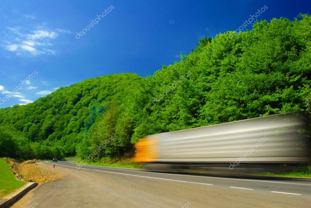 Heavy truck, motion blur