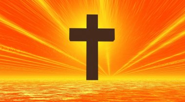 Black cross in orange background sky and