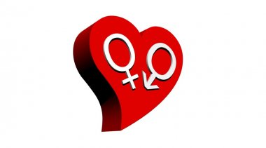 One male and one female symbol representing a heterosexual couple in red heart with white background stock vector