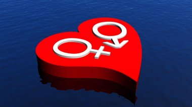 One male and one female symbol representing a heterosexual couple in red heart floating in the ocean stock vector