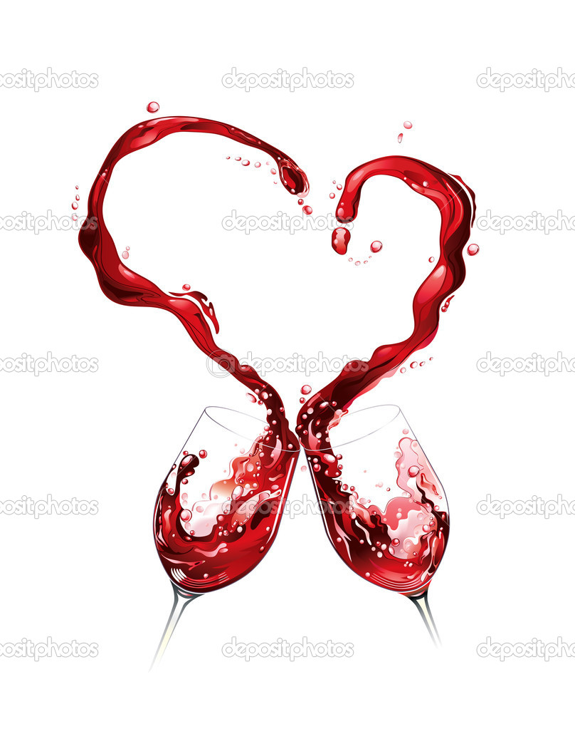 Heart from pouring red wine in white background clipart vector