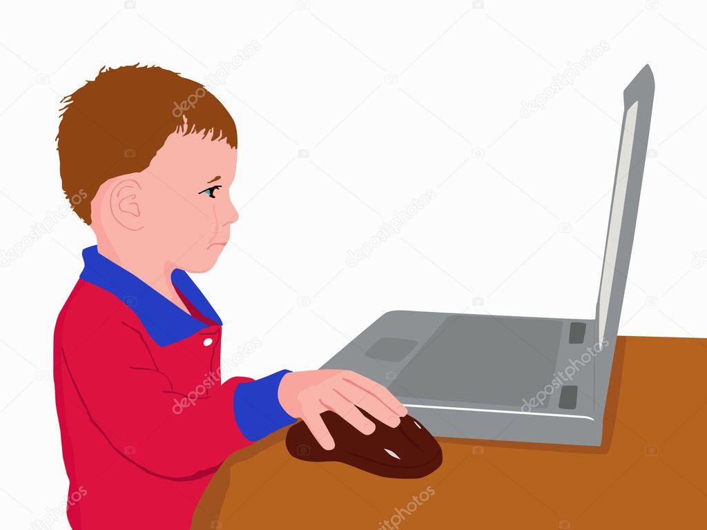 3f991abdb8 enfant à l'ordinateur — Image vectorielle texturis © #2378810