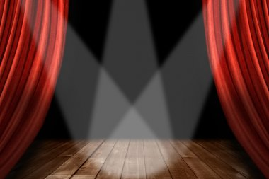 Red Theater Stage Background With 3 Spot