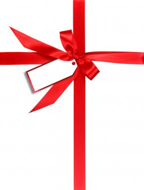 Red Gift Wrapped WIth Ribbon and Tag