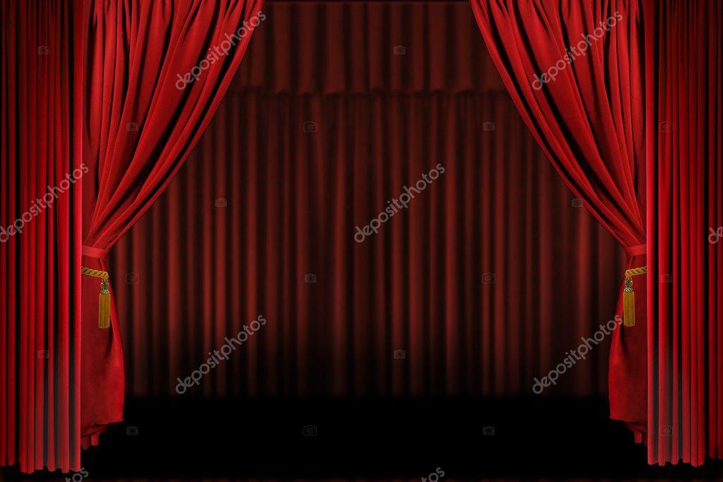 horizontale fase gordijnen open voor dit moment stockfoto