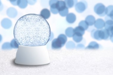 Empty Christmas Snow Globe With Blue Hol