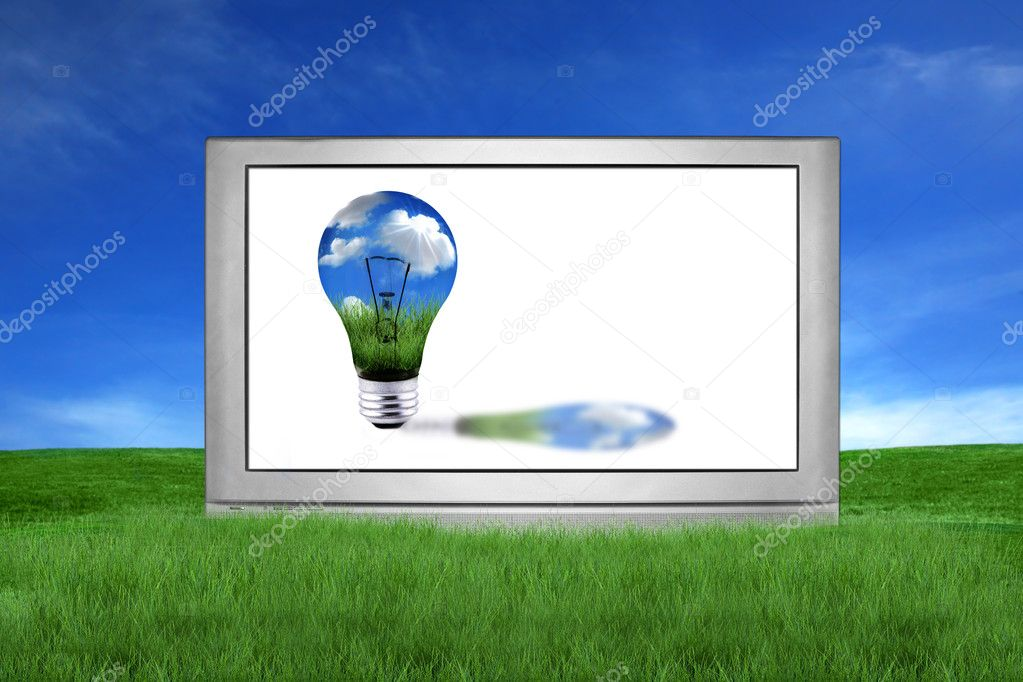 Huge LCD or Plasma TV With Green Energy
