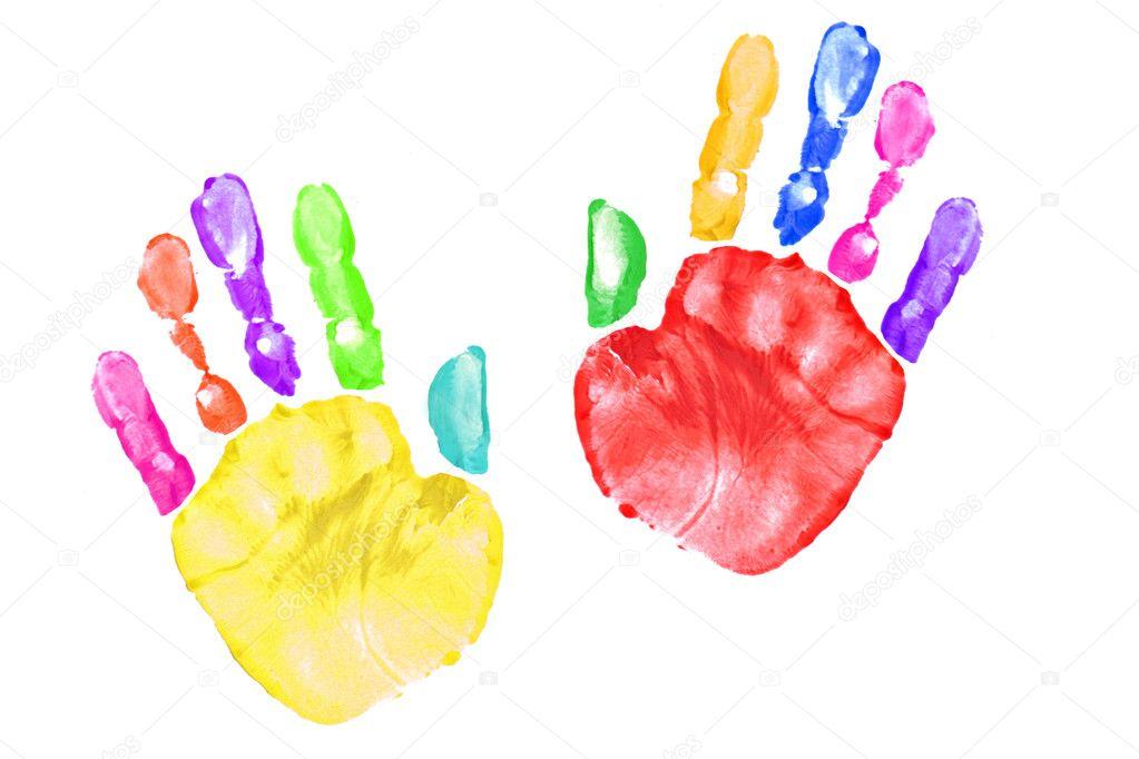 Empreintes de mains d 39 enfant color photographie tobkatrina 2269168 - Peinture main enfant ...