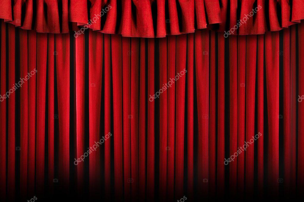 rideaux de scène de théâtre simple avec sévère — Photographie ...