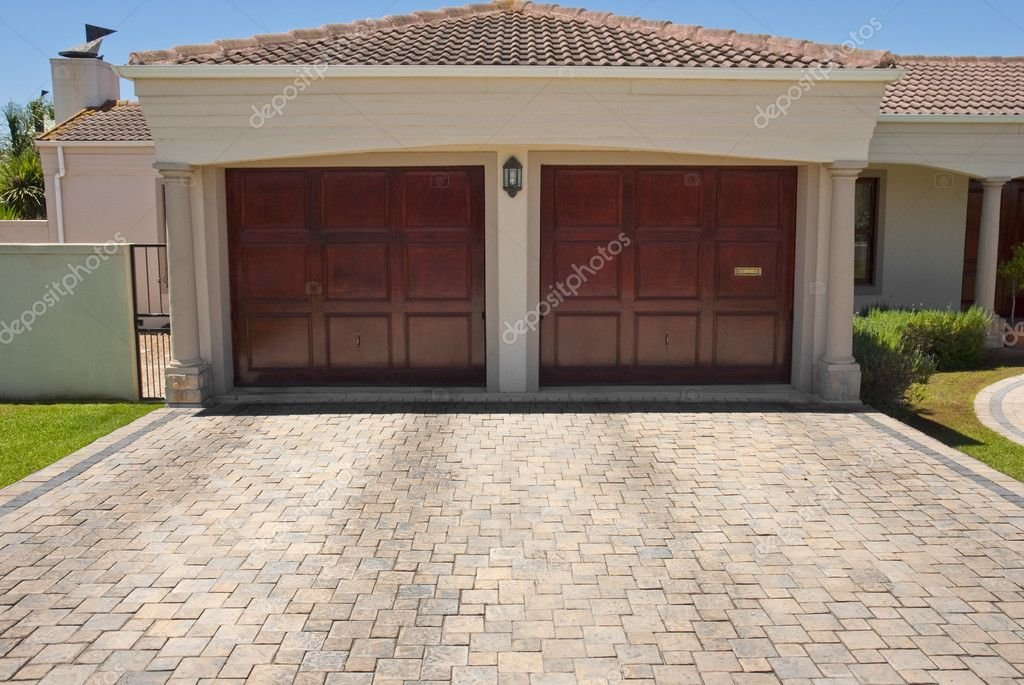 Wooden Brown Double Garage Doors U2014 Stock Photo