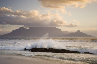 Table mountain behind wave