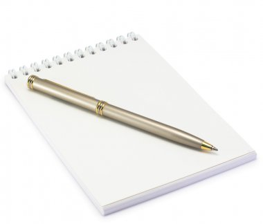 Notepad and pen on white background