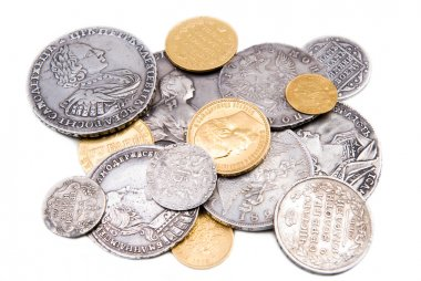 Old gold and silver coins isolated on wh