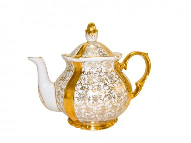 Gold antique porcelain teapot