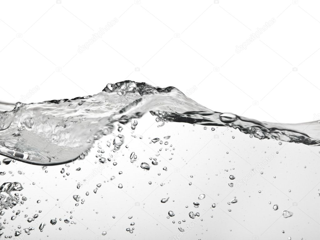 Large water wave and air bubbles