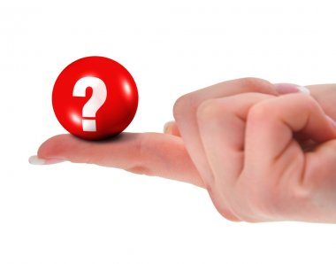 Question mark on finger