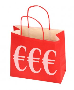 Red shopping bag with Euro sign