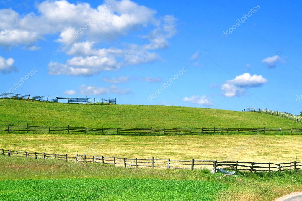 Country view with fields and fences