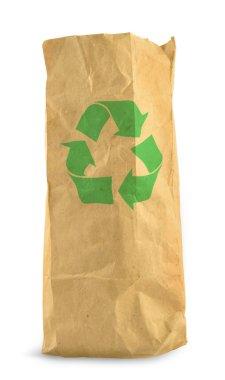 Brown paper bag and recycle symbol