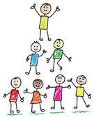 Fotografie doodle šťastné děti