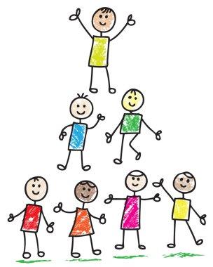 Happy doodle children