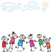 Fotografie Doodle-Kinder, die spielen