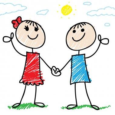 Two happy doodle kids