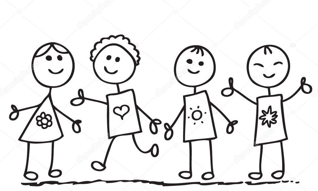Enfants de doodle image vectorielle tajim1 2403334 - Dessin groupe d enfants ...