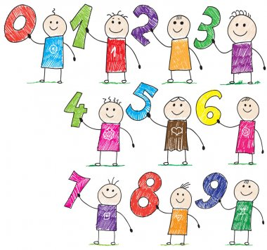Doodle children holding basic numbers