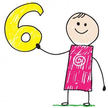 Doodle child holding number six