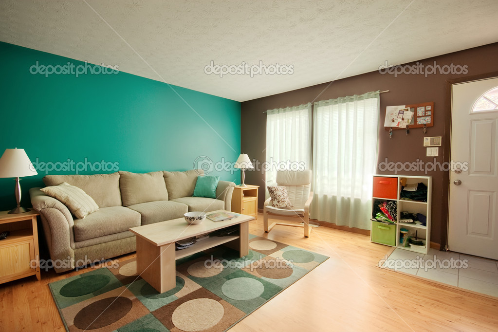 Teal and Brown Family Room