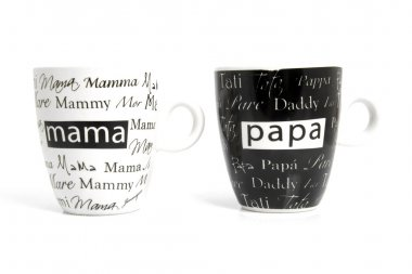 Coffee mugs with text