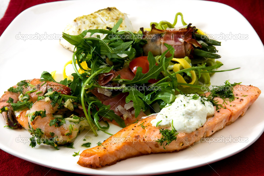 White plate with delicious meal