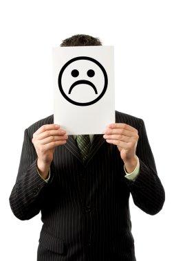 Businessman with sad smilie