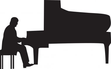 Pianist silhouette vector