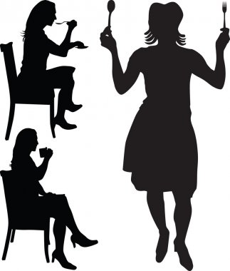 Woman eat and drink silhouette vector
