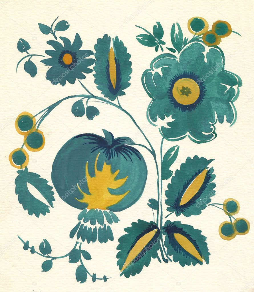 Water-colour russian flower pattern