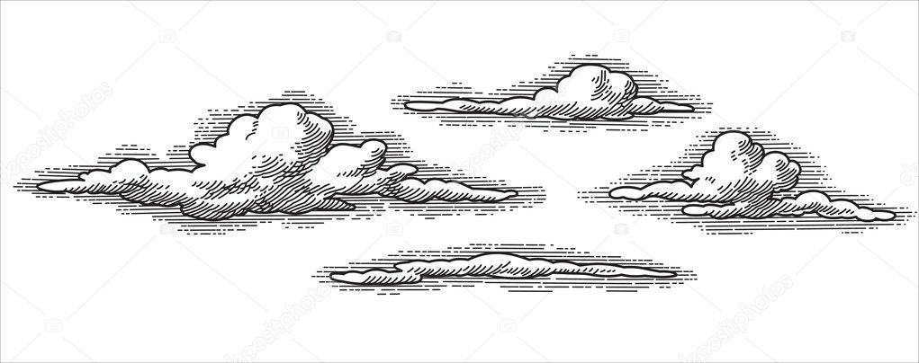 Retro clouds engraving (vector)