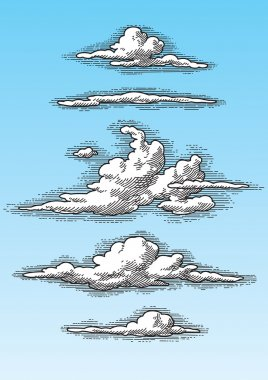 Set of retro clouds (vector)