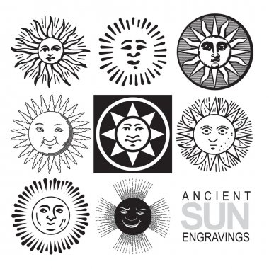 Set of retro sun icons (vector)
