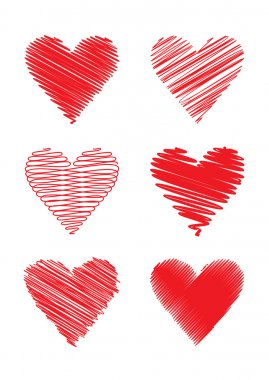 Set of scribbled hearts; scalable and editable vector illustration; clip art vector