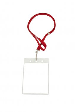 Security ID pass on a red lanyard.