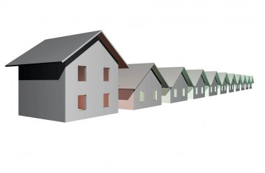 3D render of modern houses