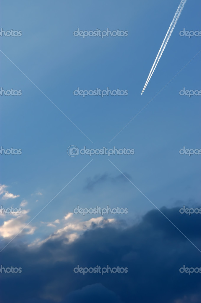 Airplane at high altitude