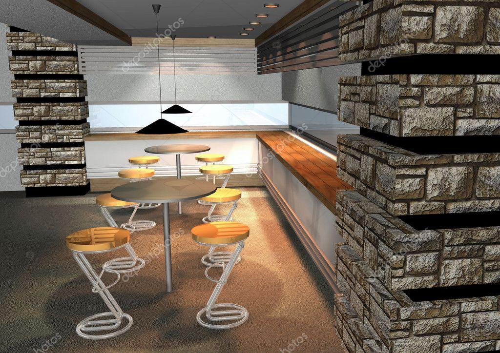 Rendering 3d di interni moderno ristorante foto stock for Rendering 3d interni