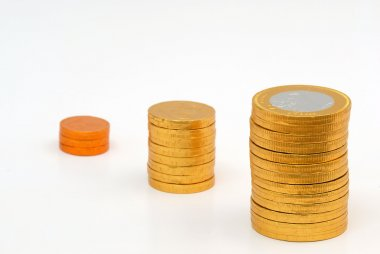 Increasing columns of coins
