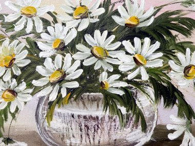 Painted marguerite flowers