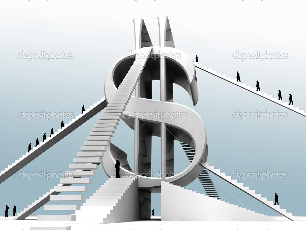 Successful progress upwards on a business ladder