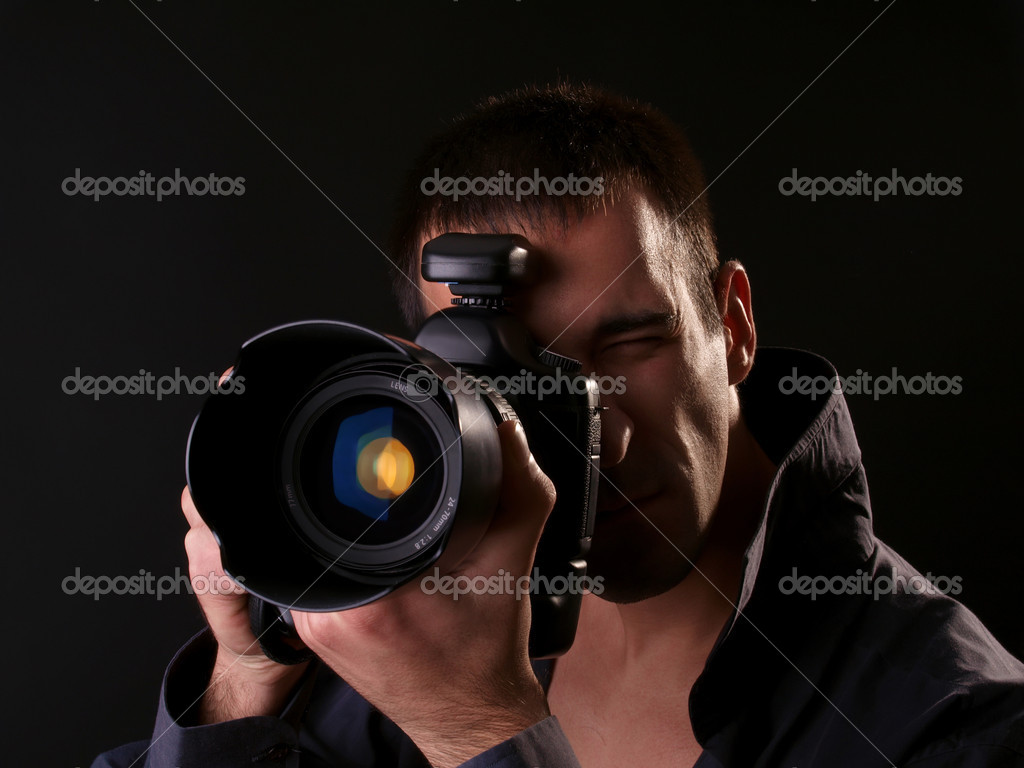 fotógrafo con cámara de fotograma completo — Fotos de Stock ...