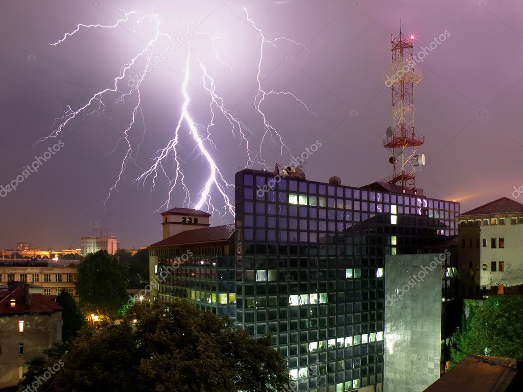 Lightning and office building